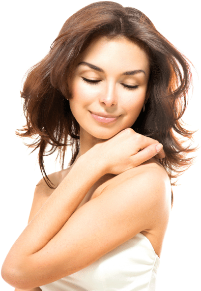 Women with eyes closed and hand on shoulder Smiling with smooth skin. BoxBar Vascular Offers Laser Services for Smooth Silky Skin in Seattle.